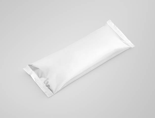 blank plastic pouch snack packaging on gray background - gelato confezionato foto e immagini stock