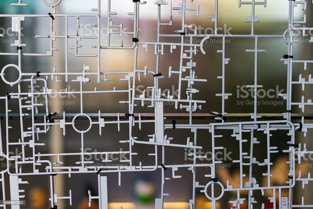 blank plastic toy kit frame stock photo