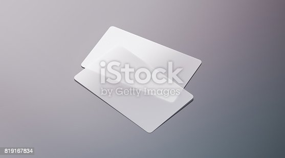 istock Blank plastic transparent business cards mock up 819167834