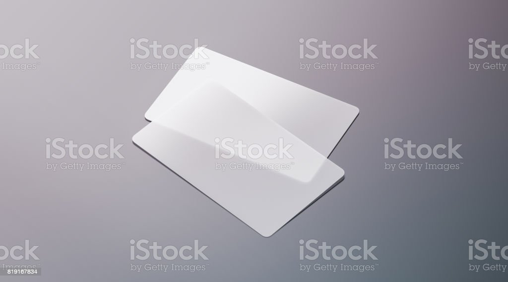 Blank plastic transparent business cards mock up stock photo