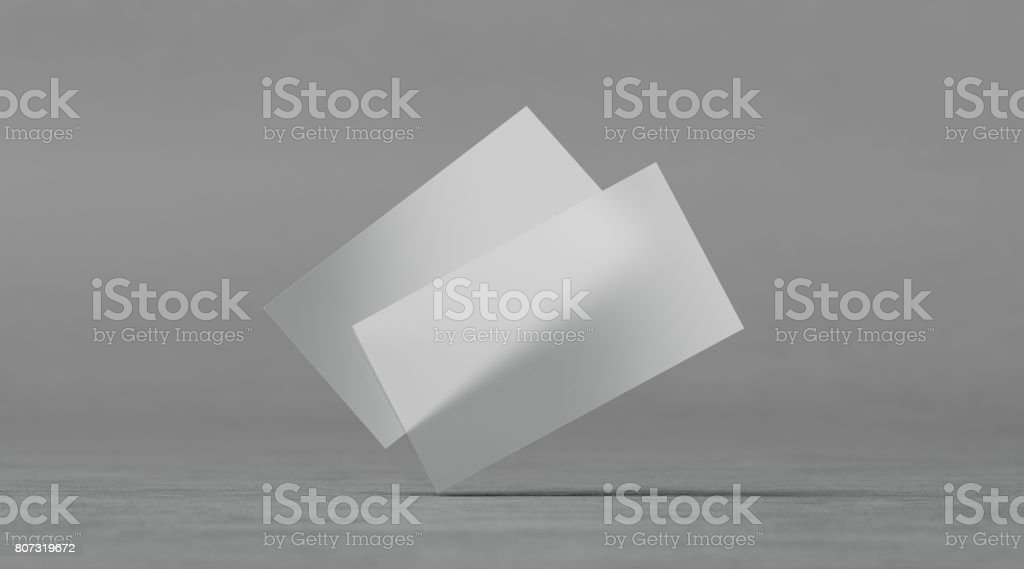 Blank plastic transparent business cards mockups stock photo