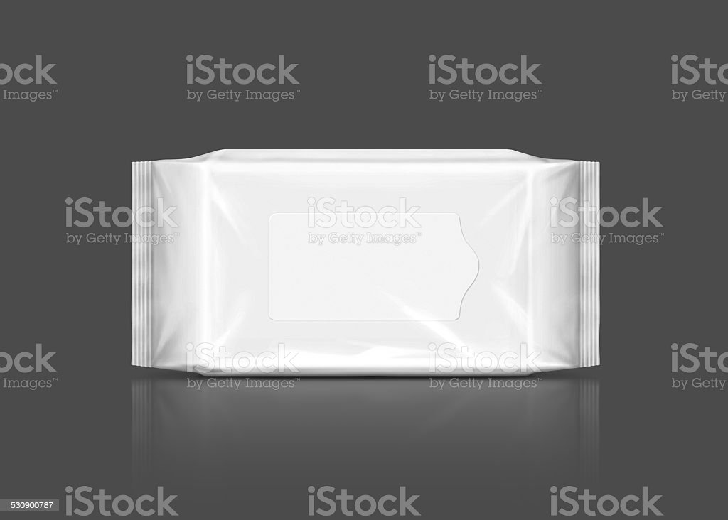 blank plastic wipes pouch isolated on gray background stock photo