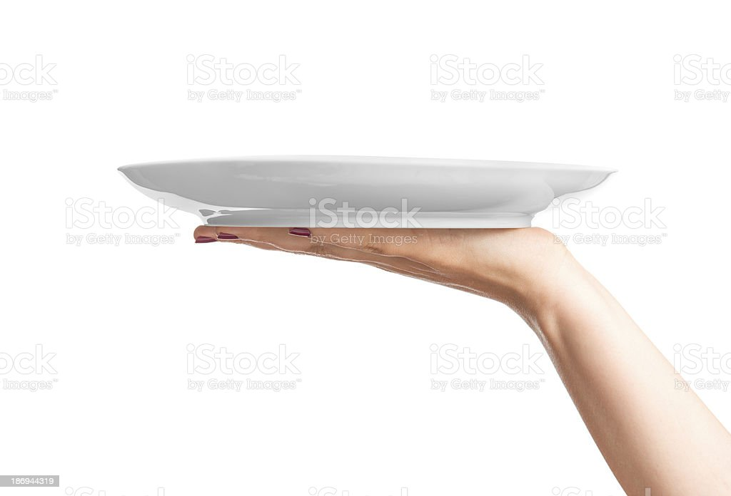 Blank plate on hand Blank plate on hand A Helping Hand Stock Photo