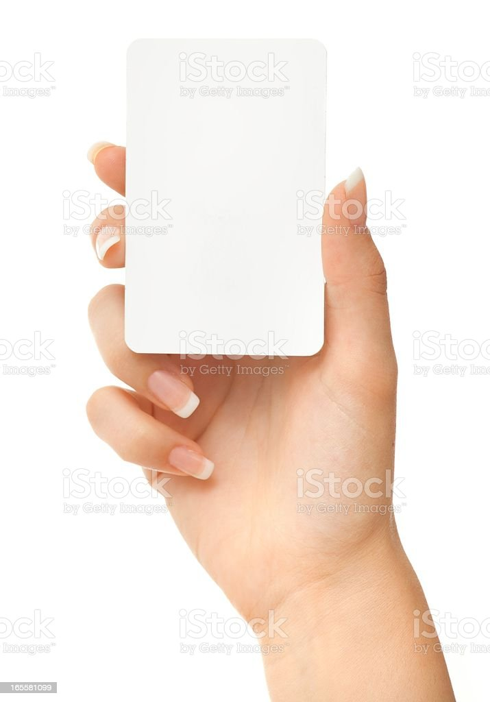 Blank play card in woman hand on white stock photo