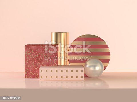 istock Blank podium red gold abstract 3d rendering scene celebrations Christmas holiday concept 1077139508