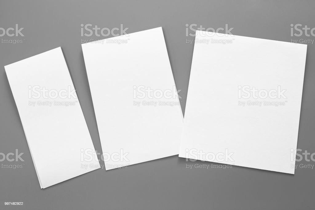 Leere Hochformat A4 Broschüre Magazin Auf Grau Wandelbar
