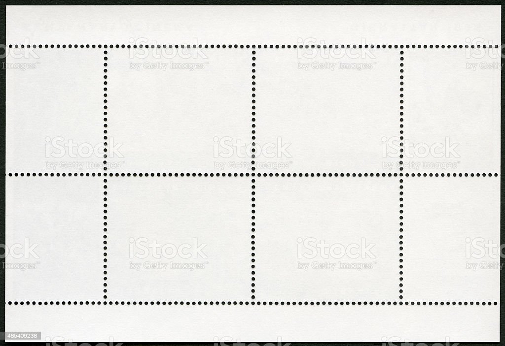 Blank postage stamp block souvenir sheet on a black background stock photo