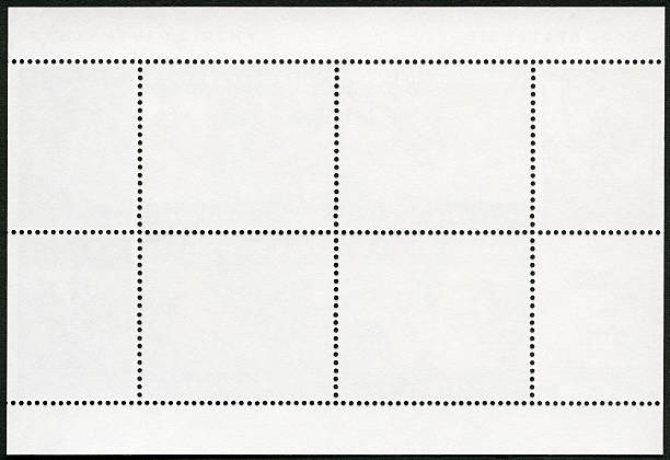 blank postage stamp block souvenir sheet on a black background - rubber stamp texture stock photos and pictures