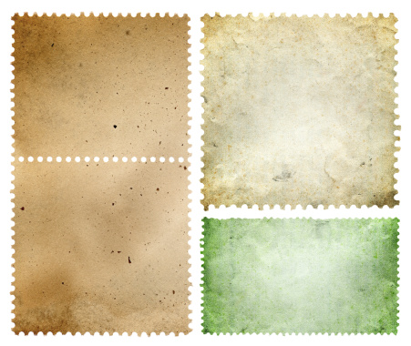 Blank postage stamp textured isolated on white background.