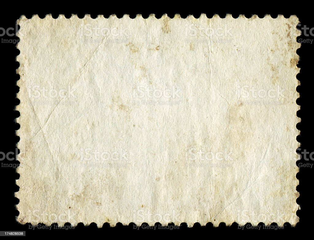 Blank postage stamp textured background isolated stock photo