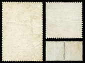 istock Blank postage stamp textured background isolated 184118352