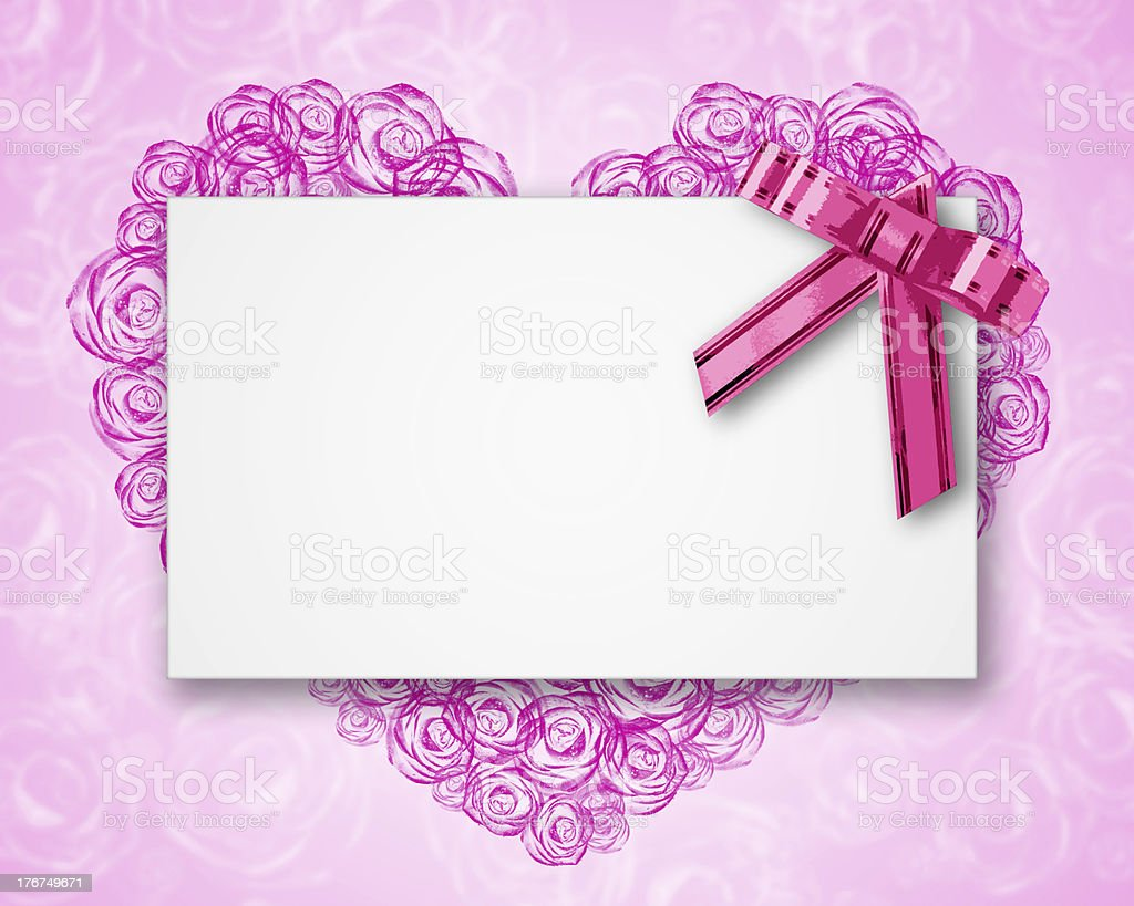 blank postcard tied with a bow of pink ribbon royalty-free stock photo