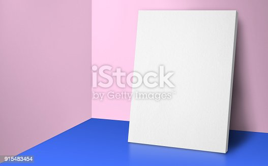 istock Blank poster at corner pastel pink and blue studio room with wall and floor background,Mock up studio room for display or montage of product for advertising on media,Business presentation 915483454