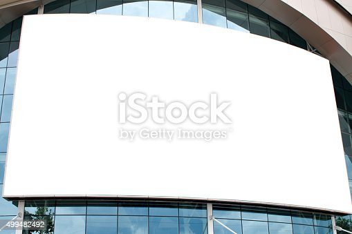 istock Blank poster billboard attached wall with copy space. 499482492