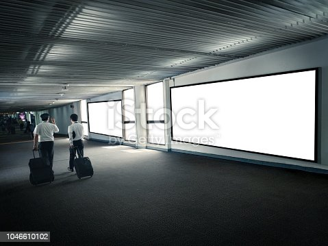 istock Blank Poster display promotion airport terminal. 1046610102