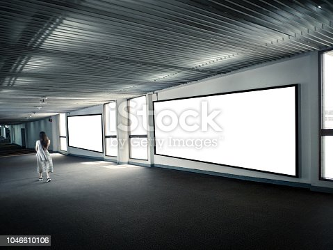 istock Blank Poster display promotion airport terminal. 1046610106