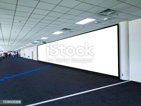 istock Blank Poster display promotion airport terminal. 1048405308