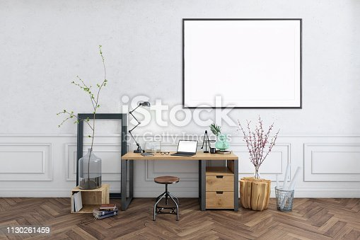 istock Blank poster frame home office interior background template 1130261459