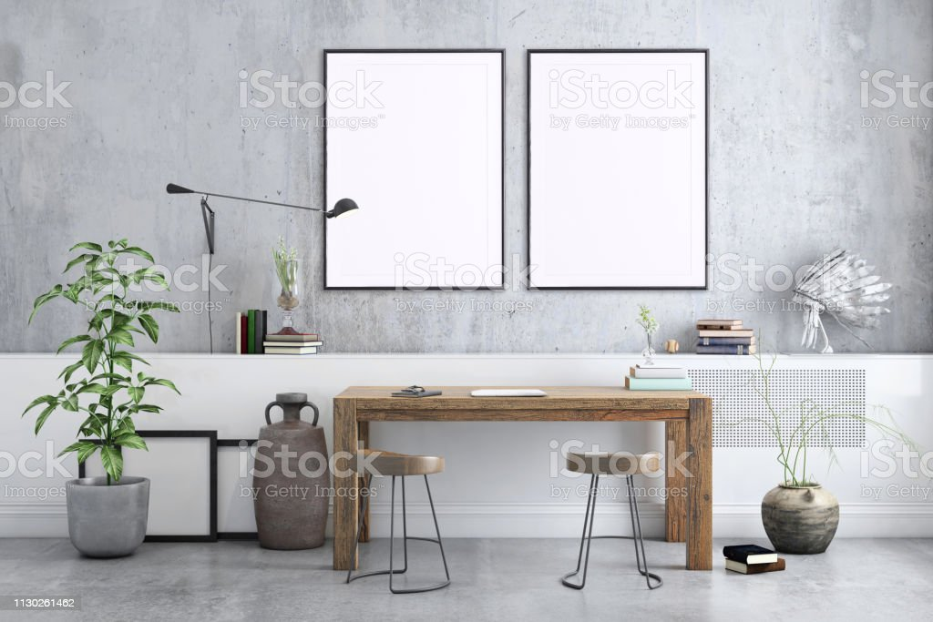 Blank Poster Frame Home Office Interior Background Template Stock