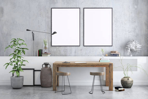 Blank poster frame home office interior background template Freelancer home studio interior. Wooden desk. Blank picture poster frame. Artist designer background template. messy home office stock pictures, royalty-free photos & images