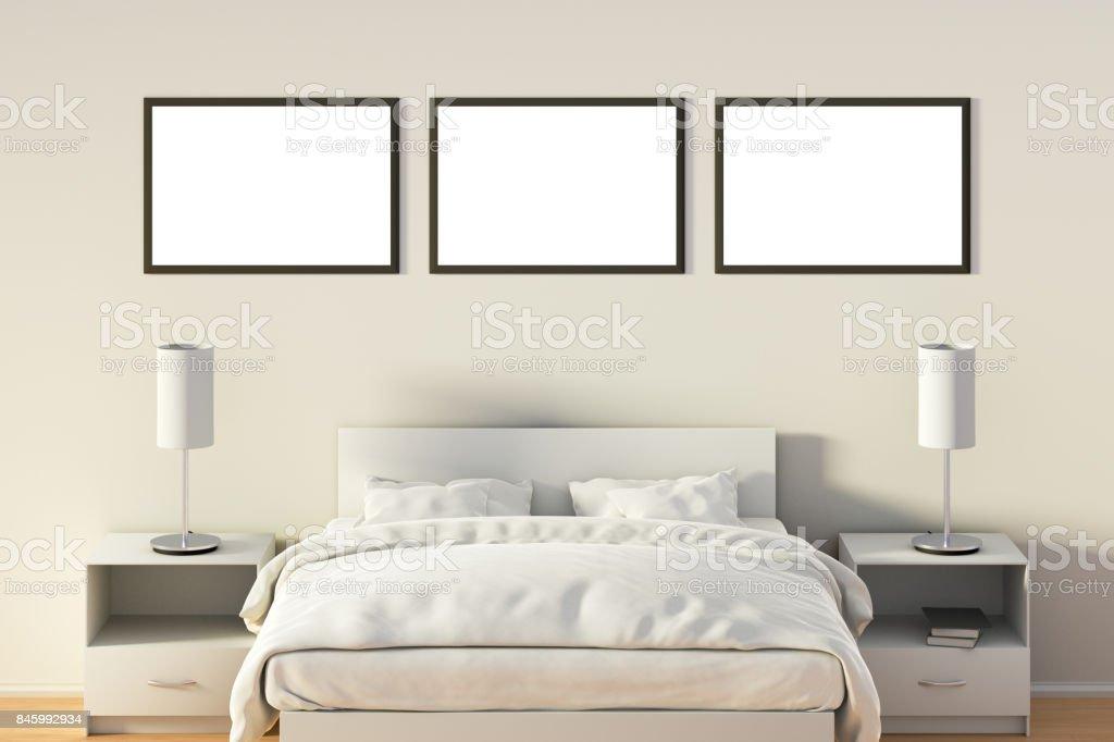 Blank poster in bedroom stock photo