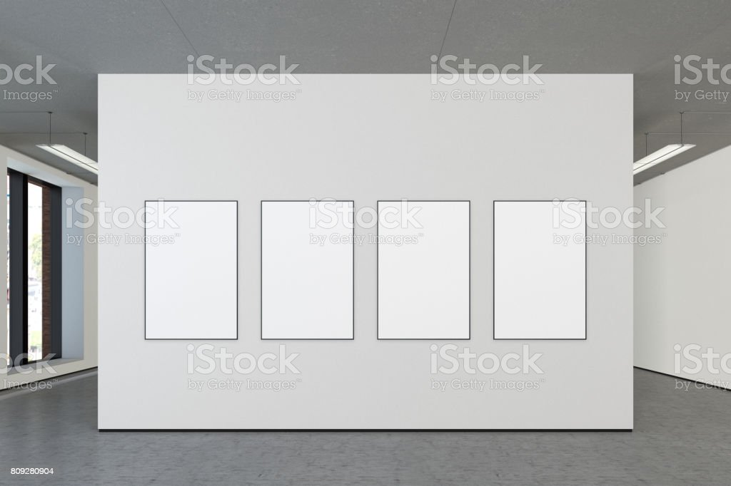 Blank poster in gallery stock photo