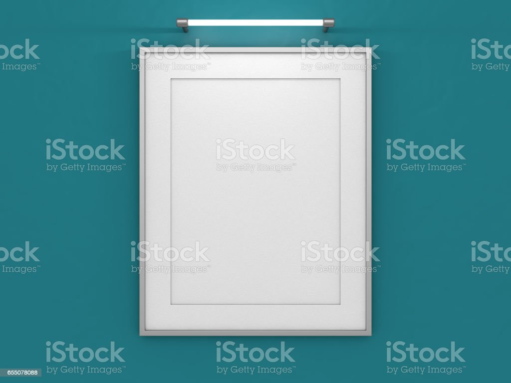 Blank poster in room with wall. Mock up, 3D Rendering stock photo