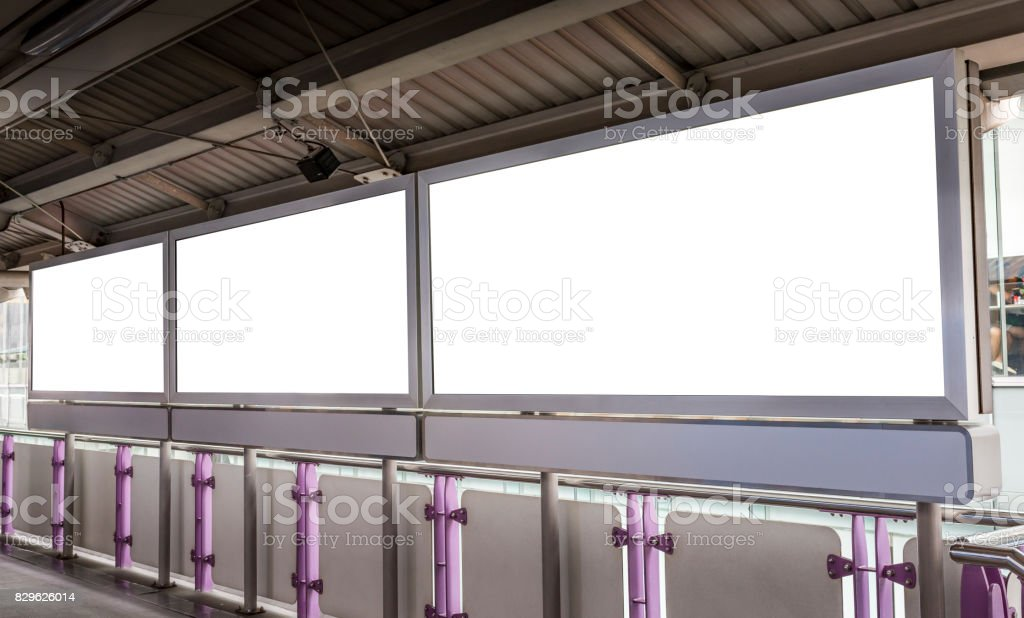 Blank poster light box in BTS station stock photo