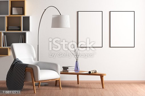 istock Blank poster mock up with black frame on the wall in living room interior 1153112711