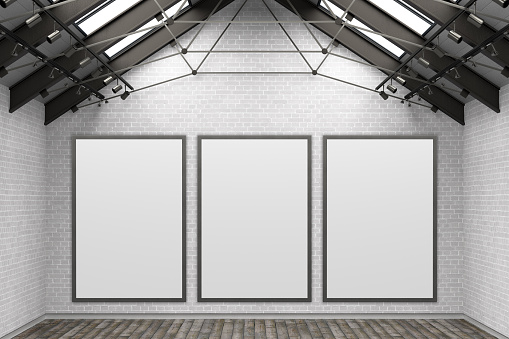 istock Blank  poster mockup on the white brick wall 1159849818