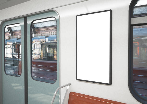 blank poster on a train blank poster on a train 3d rendering subway stock pictures, royalty-free photos & images