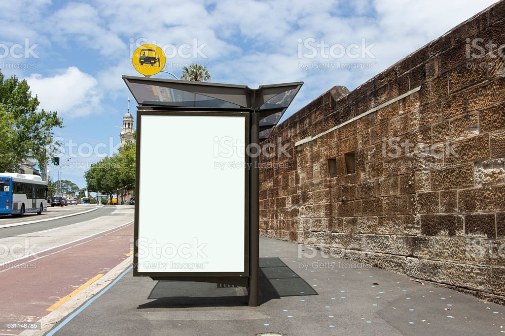 Blank Poster on Bus Stop stock photo
