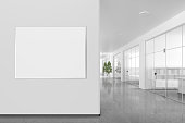 istock Blank poster on the wall in modern office interior 809308022