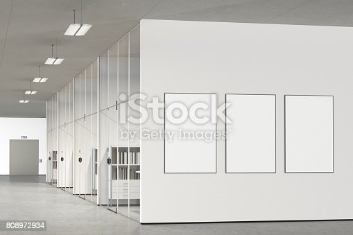 istock Blank poster on the wall in modern office 808972934
