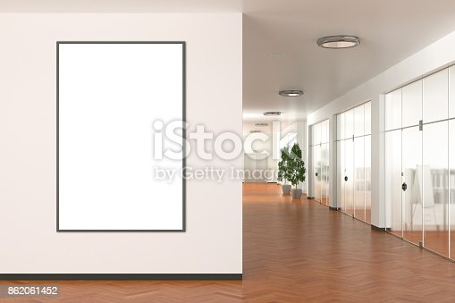 Blank vertical poster on the wall in modern office. 3d illustration