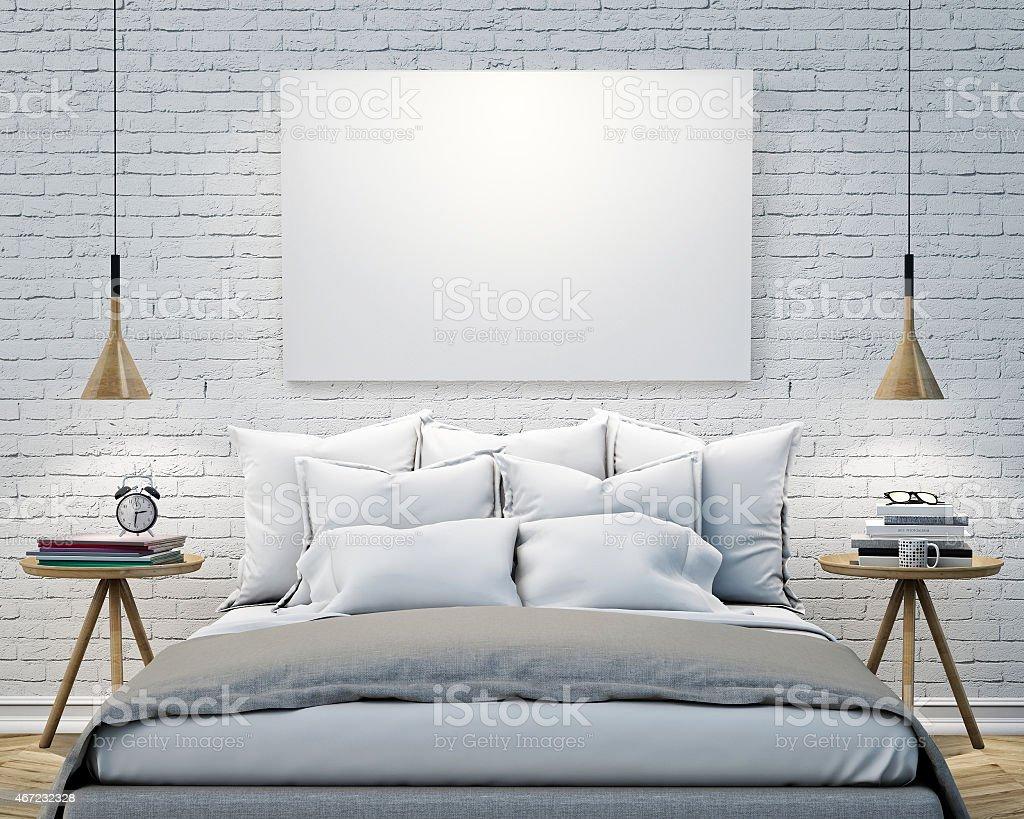 Leere Poster An Der Wand Schlafzimmer, Mock Up Hintergrund Lizenzfreies  Stock Foto