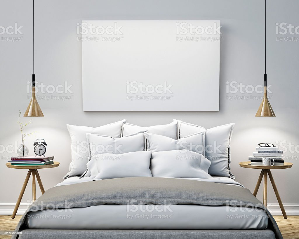 wall posters for bedroom. blank poster on the wall of bedroom  mock up background royalty free stock photo Blank Poster On The Wall Of Bedroom Mock Up Background