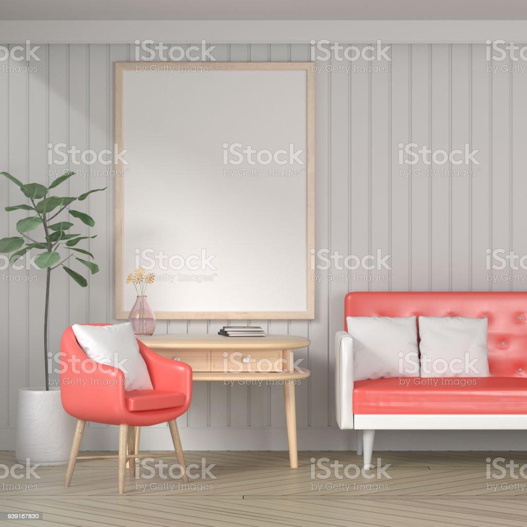 Leere Plakat An Weißer Wand, Wohnzimmer, Vintage Stil. 3D Rendering  Lizenzfreies Stock