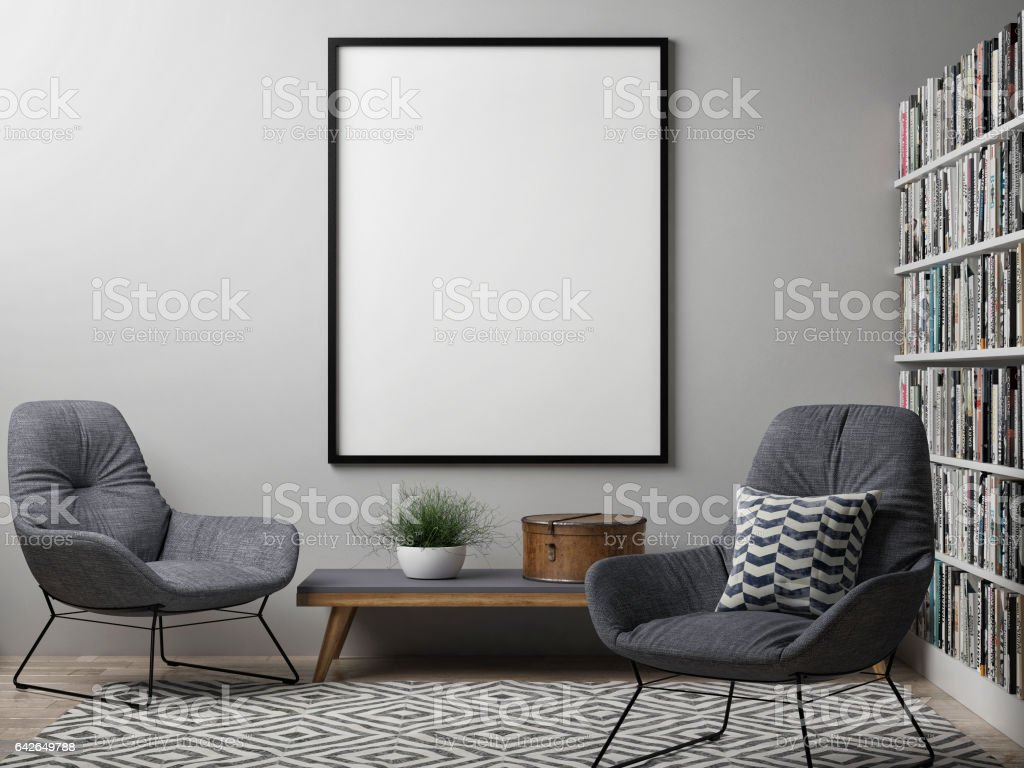 Blank poster, Scandinavian design interior - foto stock