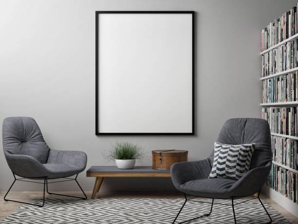 leere plakat, skandinavischen design-interieur - bilderrahmen gestalten stock-fotos und bilder