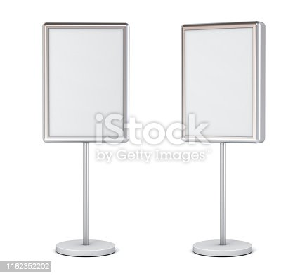 istock Blank poster sign with pole stand Blank mock up information signage board or advertising billboard light box set isolated on white background with shadow 1162352202