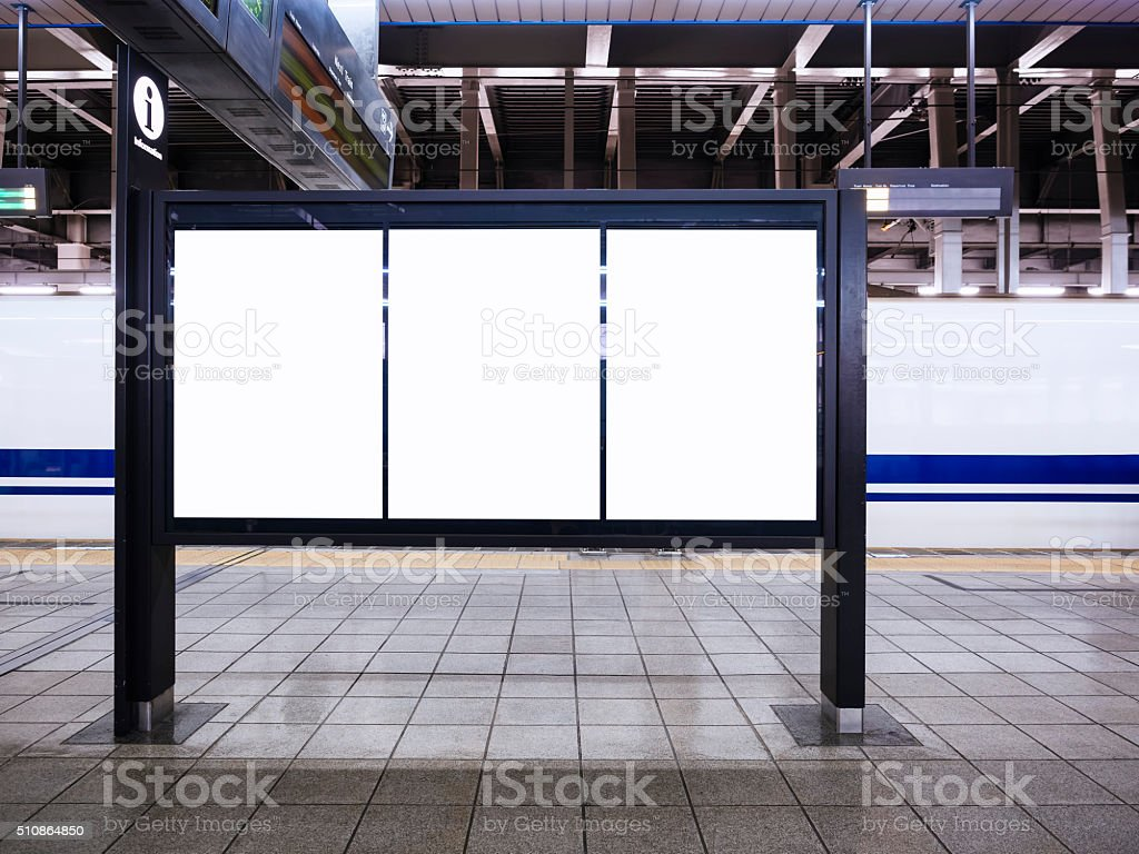 Blank Poster Template Train schedule Information at Train statio stock photo