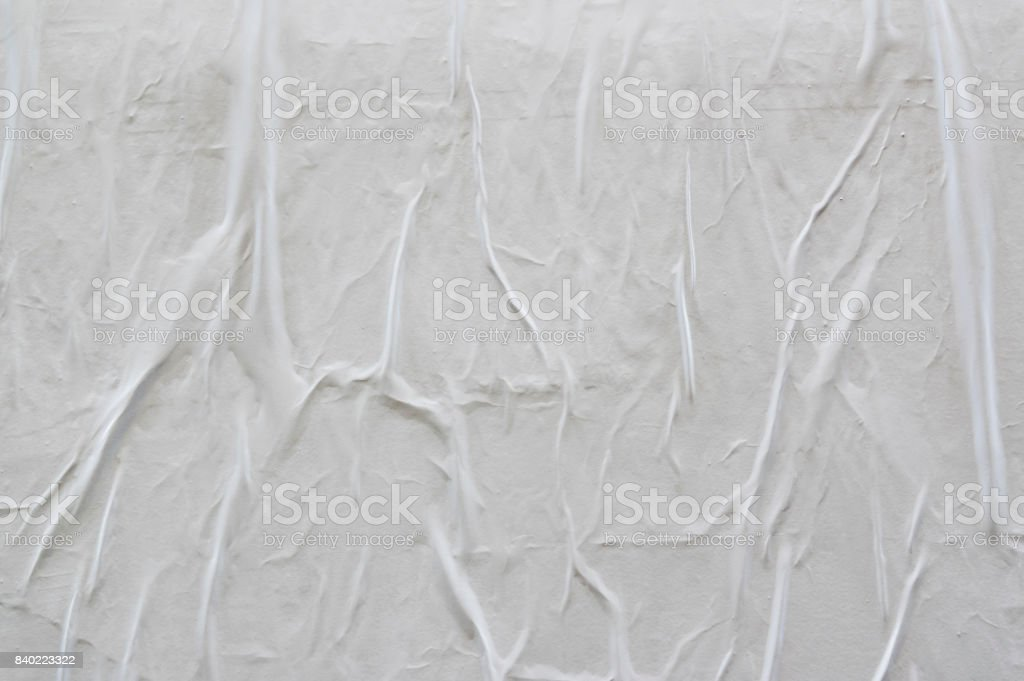 Blank poster texture. Creased, wrinkled texture stock photo
