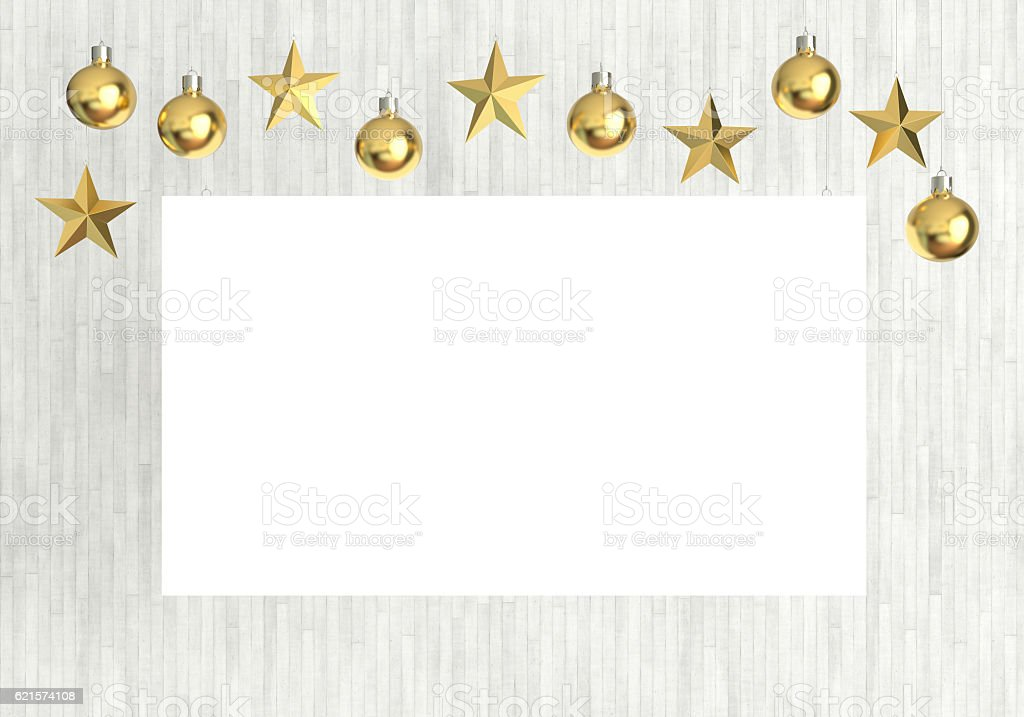 Blank poster with hanging golden balls and stars. photo libre de droits