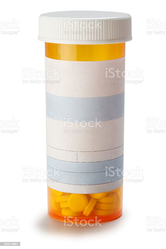 Blank prescription medication bottle on white background. royalty-free stock photo