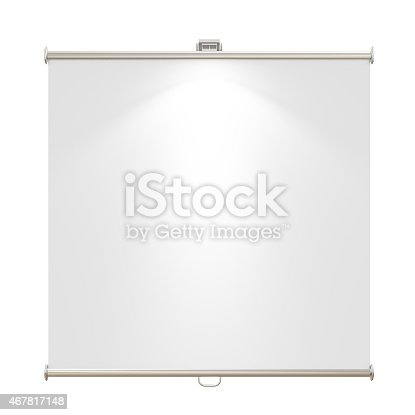 istock blank presentation roller standing isolated on white background 467817148