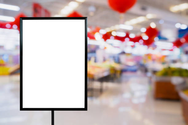 blank price board with supermarket store - retail display stock photos and pictures