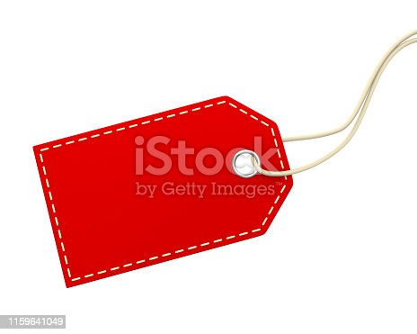Blank Price Tag isolated on white background. 3D render