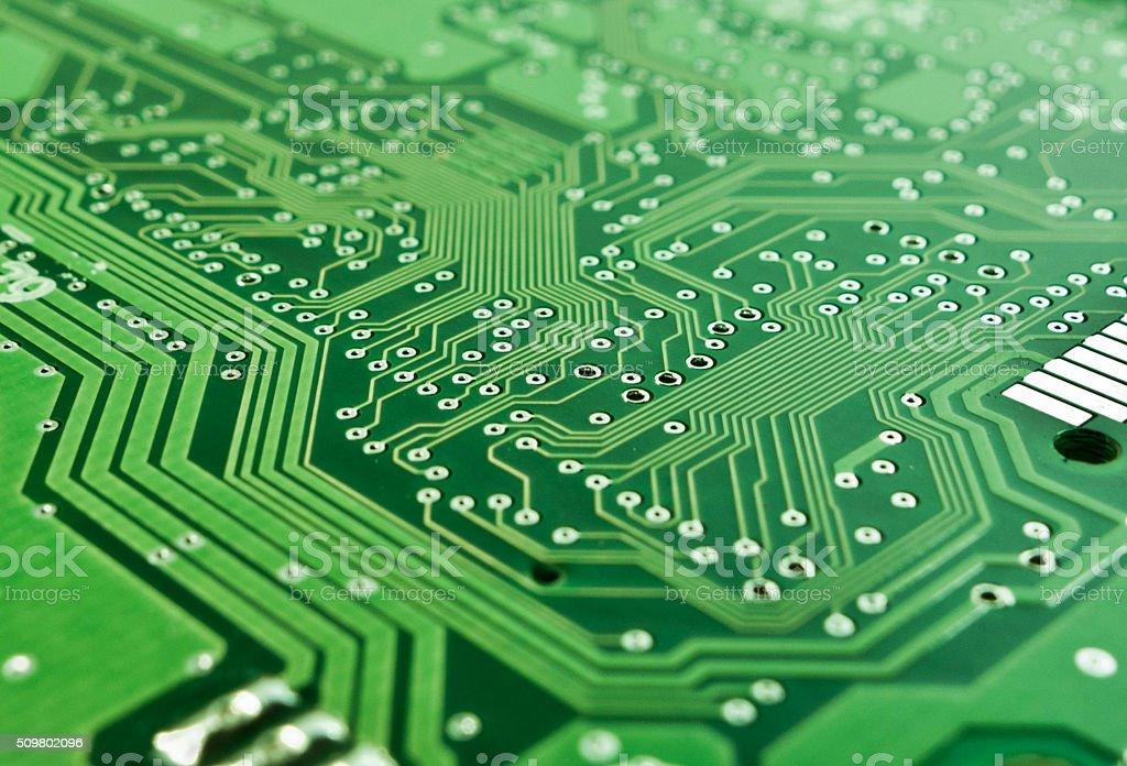 Blank Printed Circuit Board Tracks stock photo