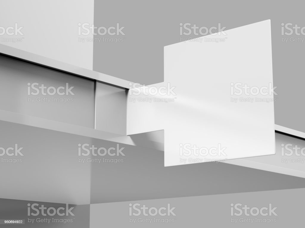 PVC Blank Printing Plastic Shelf Talker for Shopping Mall Promotion. 3d render illustration. stock photo